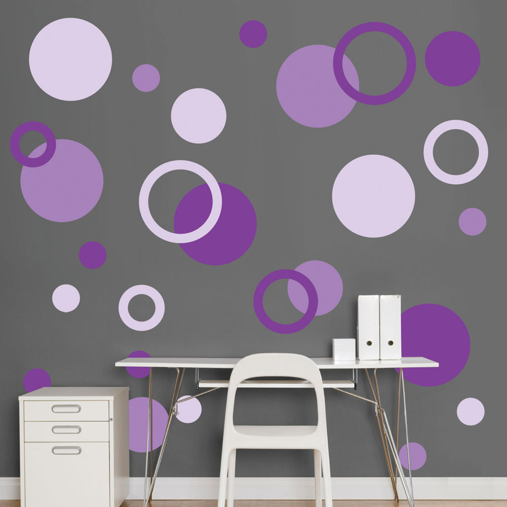 purple polka dots realbig wall decal. Black Bedroom Furniture Sets. Home Design Ideas