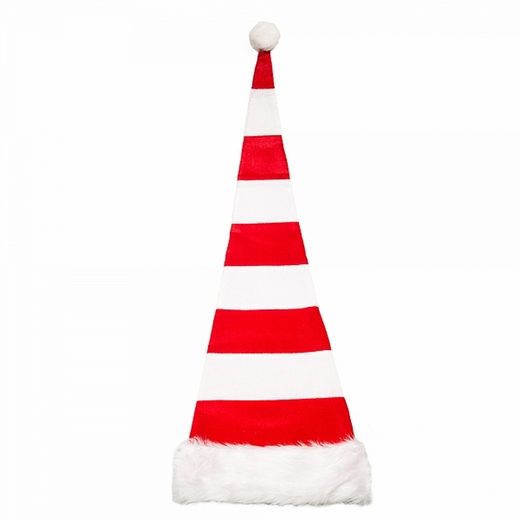 Red And White Extra Long Striped Santa Hat
