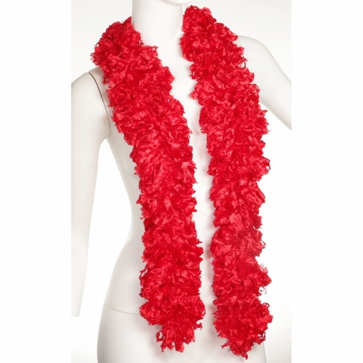 Faux Red Featherless Boa (6', 185 grams)