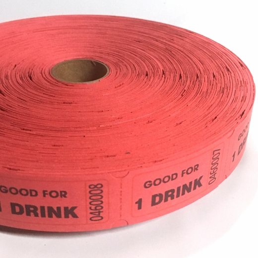 Red Good For One Drink Ticket Roll