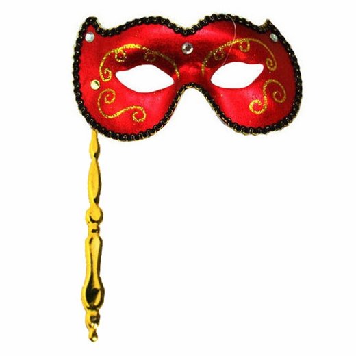 Red Masquerade Stick Mask