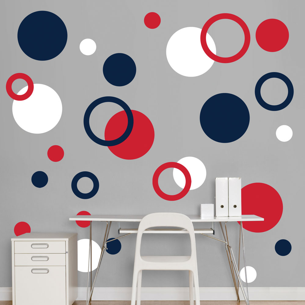 Red white and blue polka dots realbig wall decal for Red and white polka dot decorations