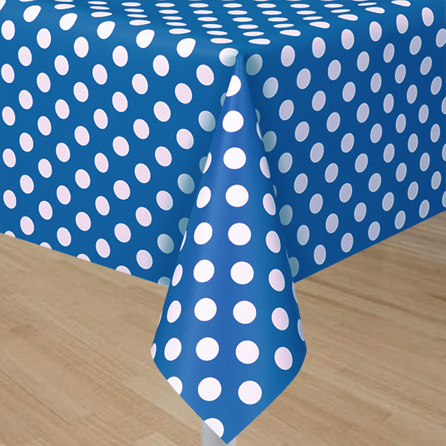 Royal Blue Plastic Table Cover With White Polka Dots - Rectangle