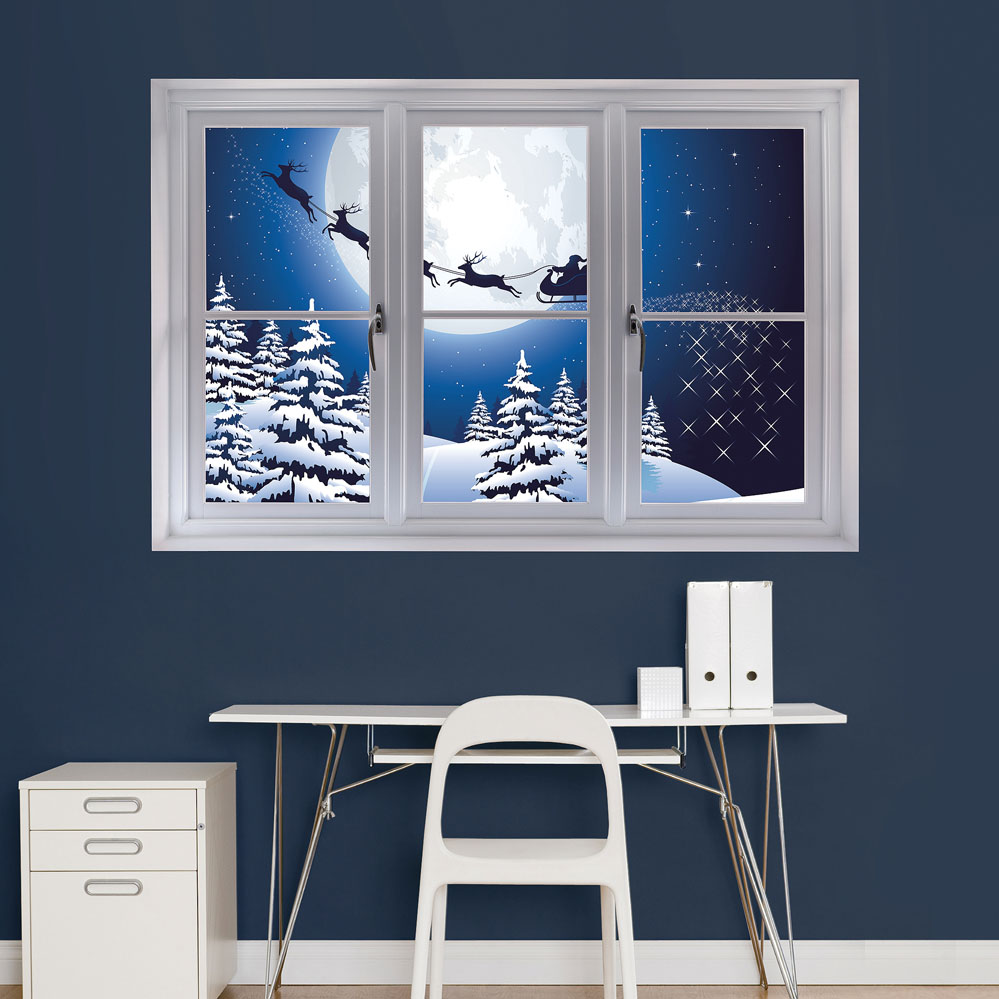 Santa Sleigh: Instant Window REALBIG Wall Decal