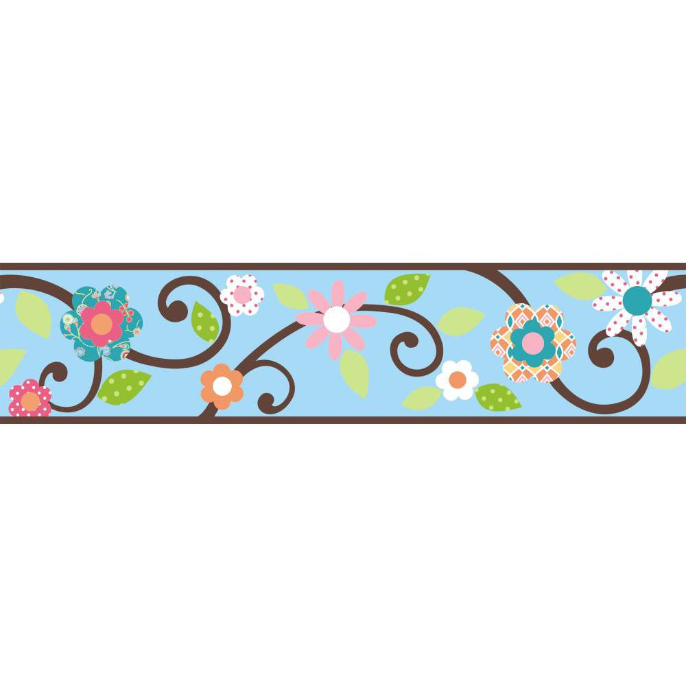 Scroll Floral Peel And Stick Border-Blue-Brown