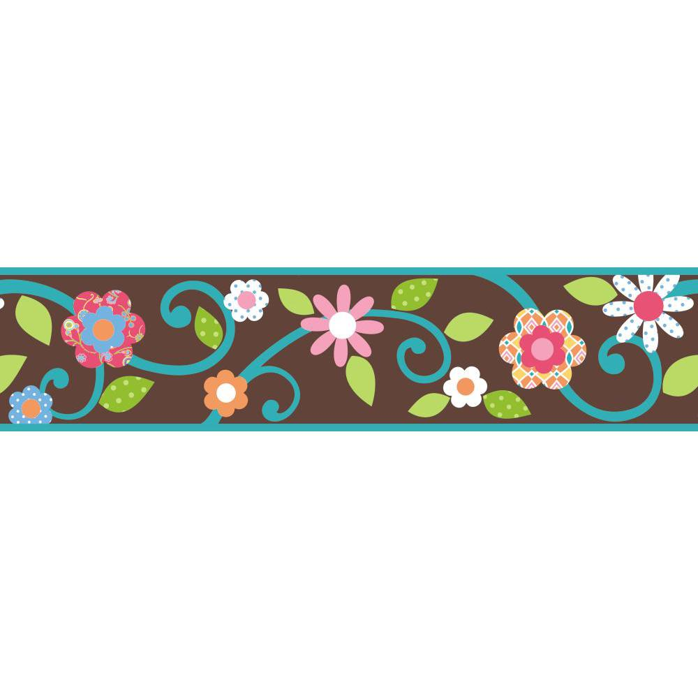 Scroll Floral Peel And Stick Border Brown Teal: floral peel and stick wallpaper