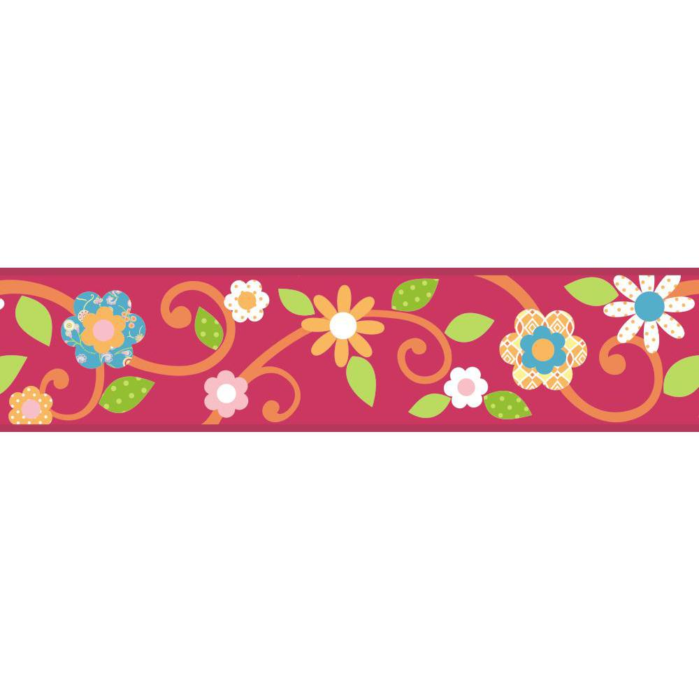 Scroll Floral Peel And Stick Border-Magenta-Orange