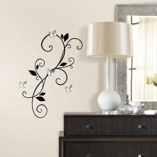 Scroll Sconce Decal with Bendable Buttefly Mirrors