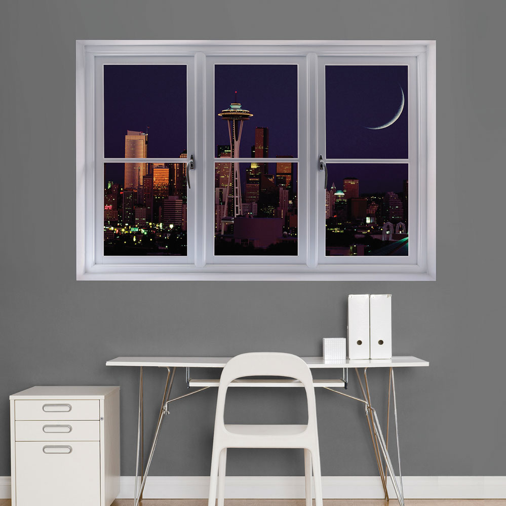 Seattle Night Skyline Scenic Window Wall Decal
