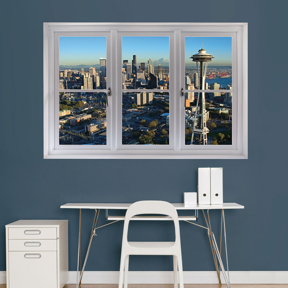 Seattle Skyline Scenic Window REALBIG Wall Decal