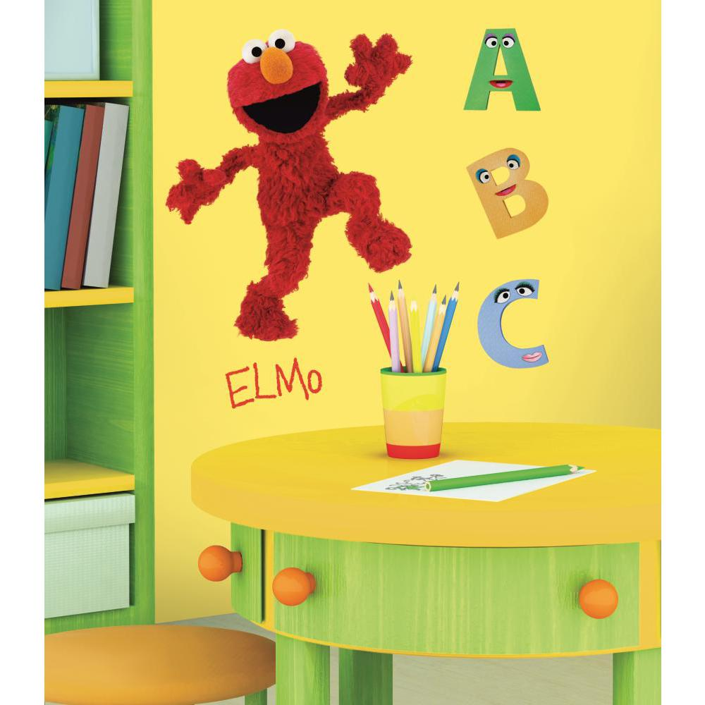 sesame street elmo peel and stick giant wall decal. Black Bedroom Furniture Sets. Home Design Ideas