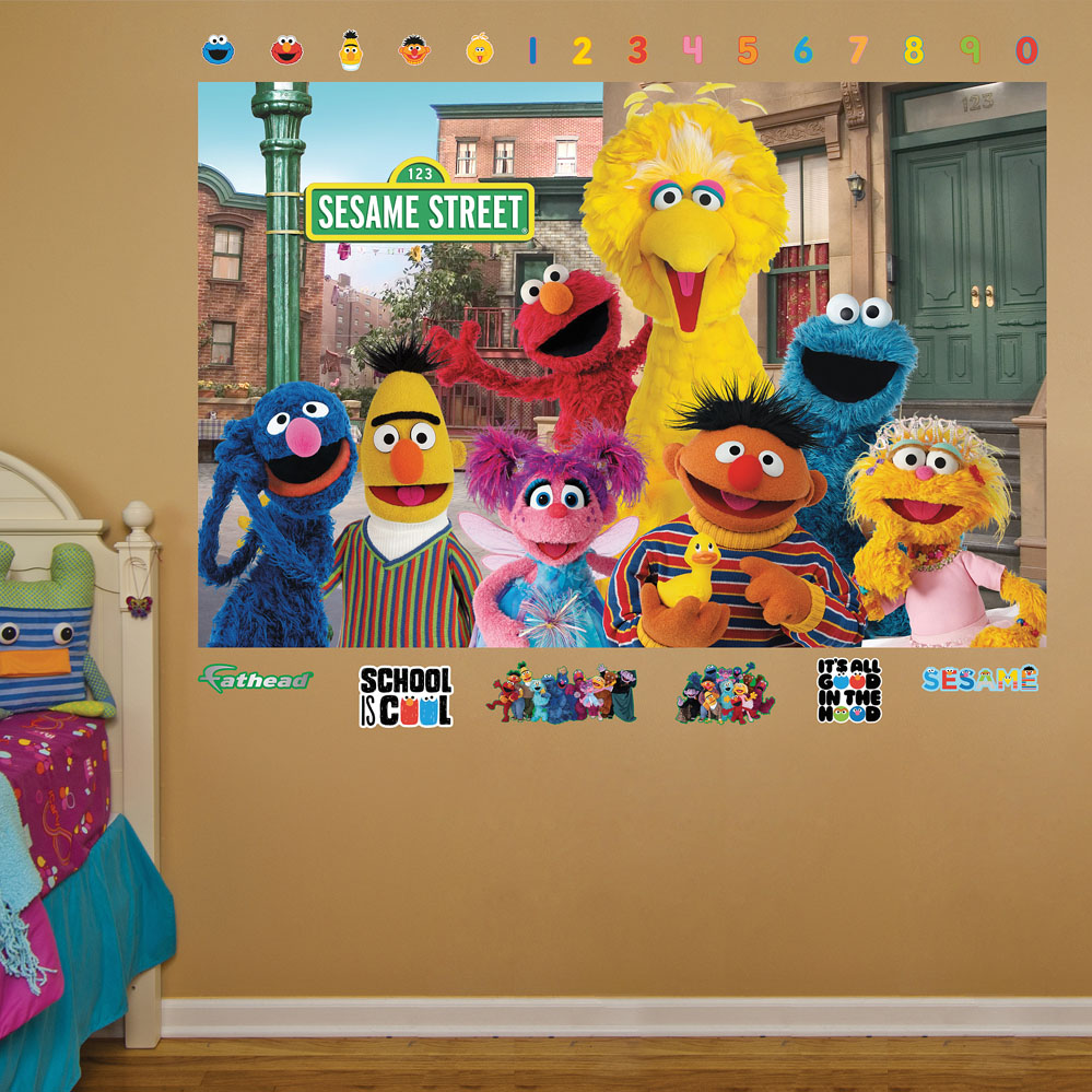 sesame street group mural realbig wall decal. Black Bedroom Furniture Sets. Home Design Ideas