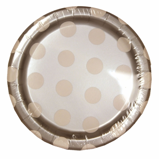 Silver Decorative Dots Paper Plates - 7""