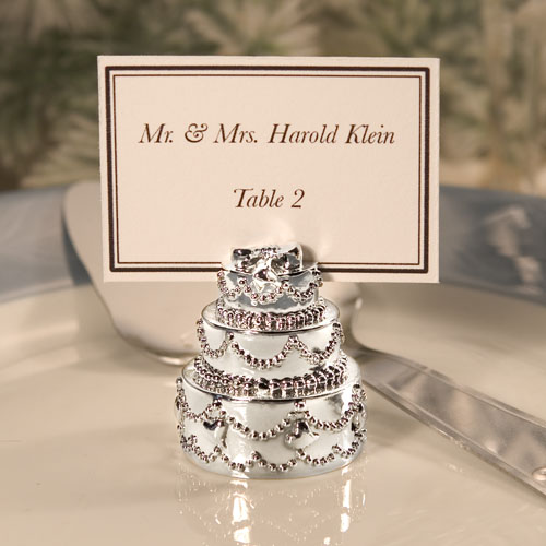 Silver Plated Wedding Cake Place Card Holders
