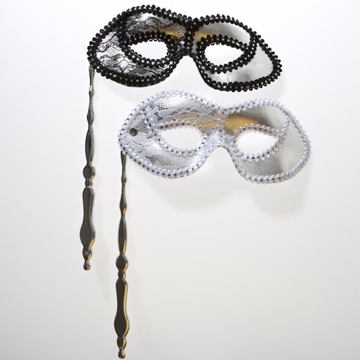 Silver Masquerade Mask On A Stick