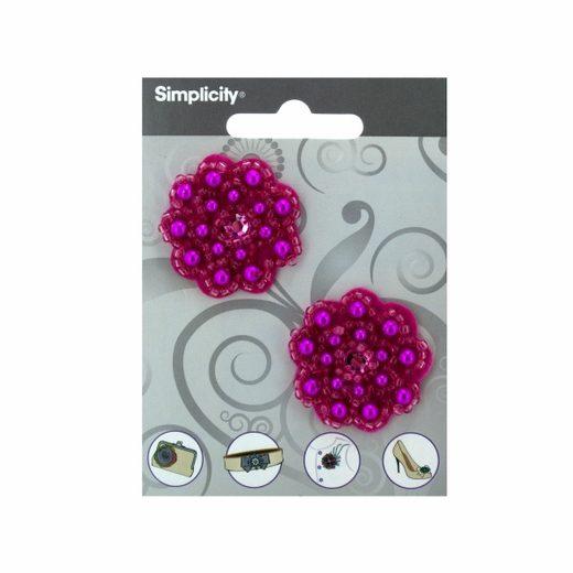 Simplicity Pink Flower With Beads/Gem Accent