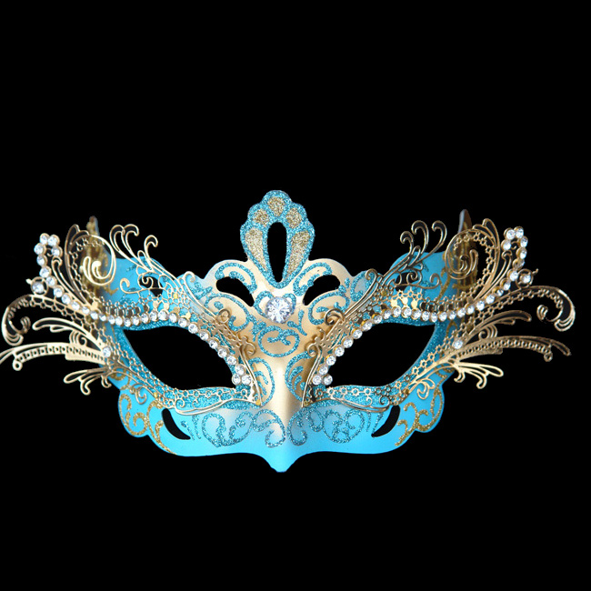 Sky Blue Decorative Metal Venetian Half Mask