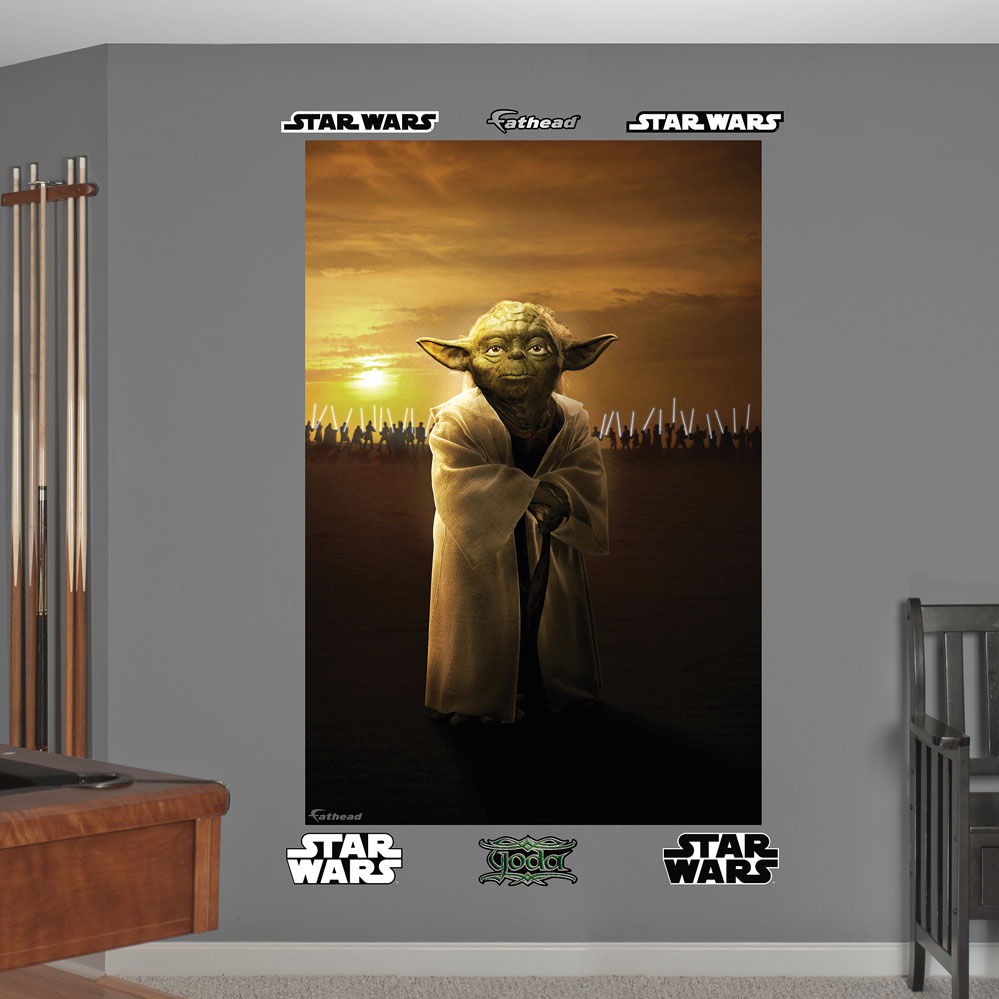 star wars yoda jedi knights mural wall decal. Black Bedroom Furniture Sets. Home Design Ideas