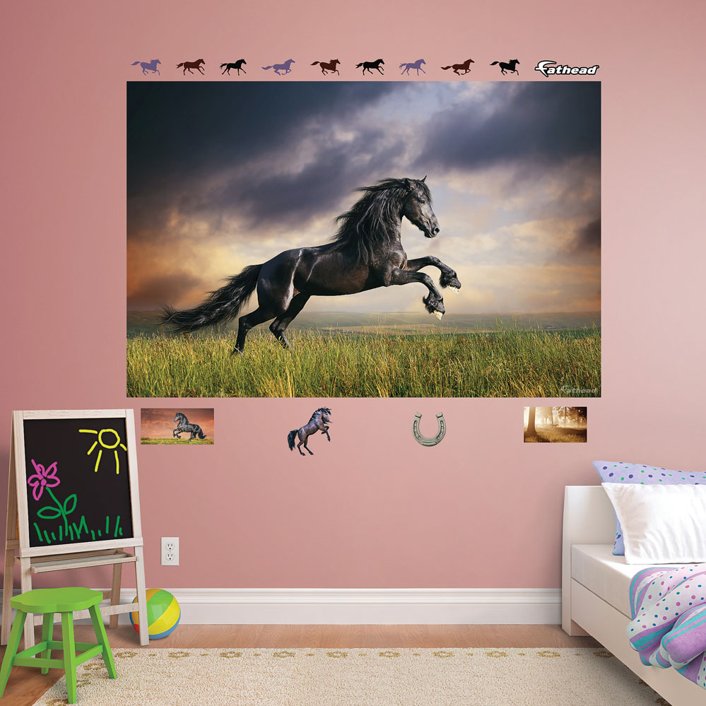 Stormy skies horse mural realbig wall decal for Equestrian wall mural
