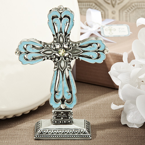 Striking Blue And Pewter Color Cross Statue