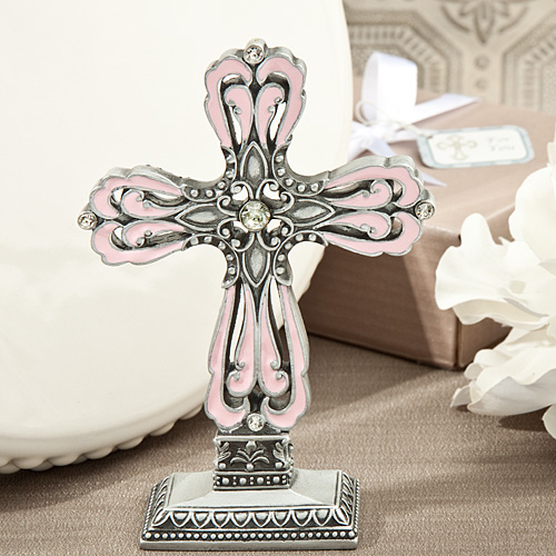 Striking Pink And Pewter Color Cross Statue