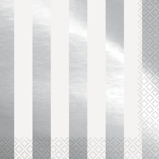 Striped Silver Foil Lunch Napkins