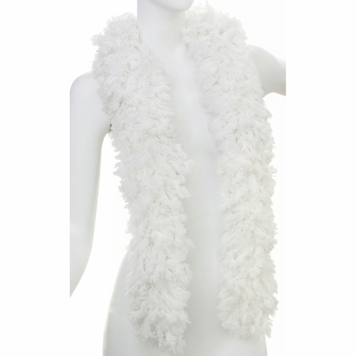 Faux White Featherless Boa (6', 180 grams)