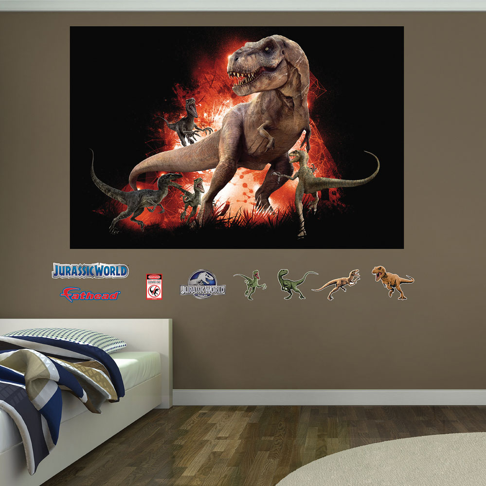 T-Rex And Velociraptor Jurassic World Mural Decals