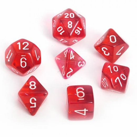 Translucent Red With White Polyhedral 7 Die Set