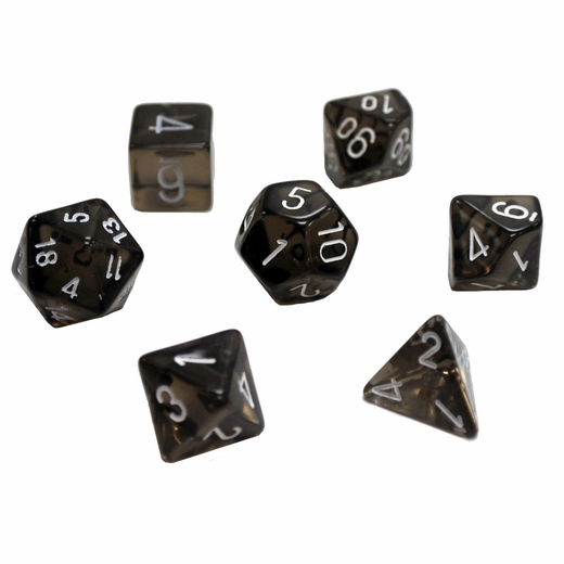 Translucent Smoke With White Polyhedral 7 Die Set