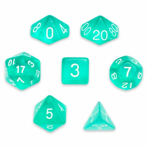Translucent Teal With White Polyhedral 7 Die Set