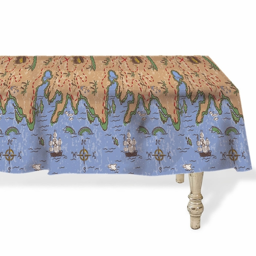 Treasure Map Plastic Table Cover - Rectangle