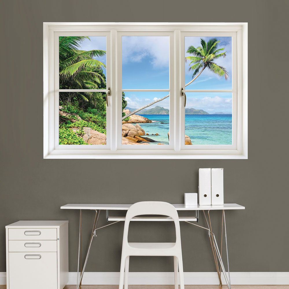 Tropical Beach, Seychelles: Instant Window Decal