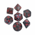Velvet Black With Red Polyhedral 7 Dice Set