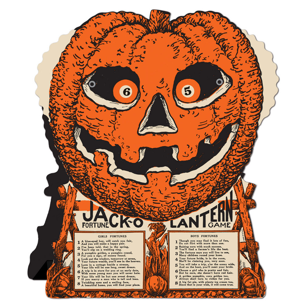 Vintage jack o lantern fortune game for Antique halloween decoration