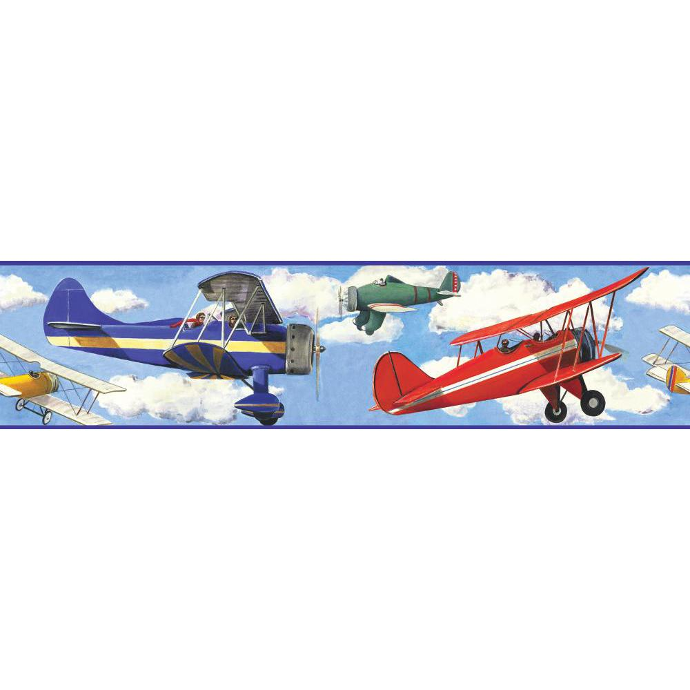 Vintage Planes Peel And Stick Border