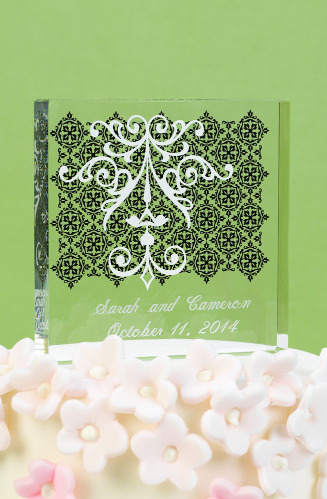 White Damask And Scroll Cake Top