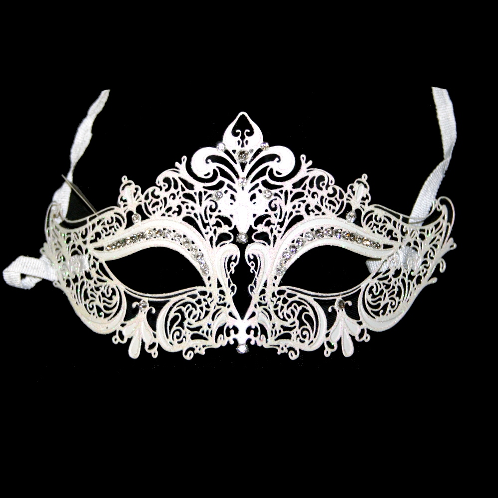 White Metal Venetian Half Mask