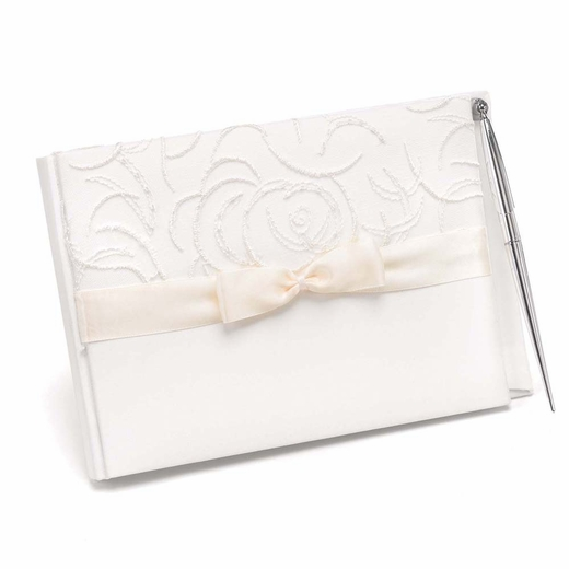 White Satin And Swirls Guest Book And Pen