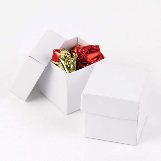 White Shimmer Two Piece Favor Boxes