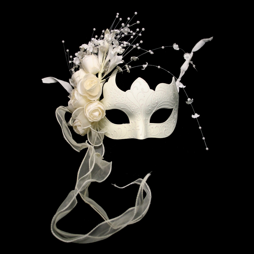 White Venetian Half Mask With Flowers
