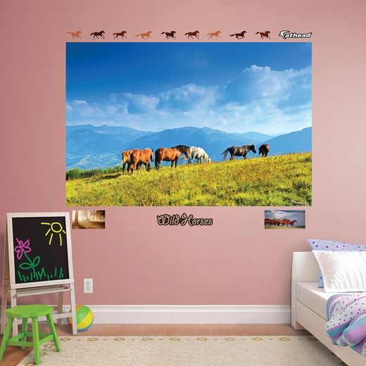 Wild Horses Grazing Mural REALBIG Wall Decal