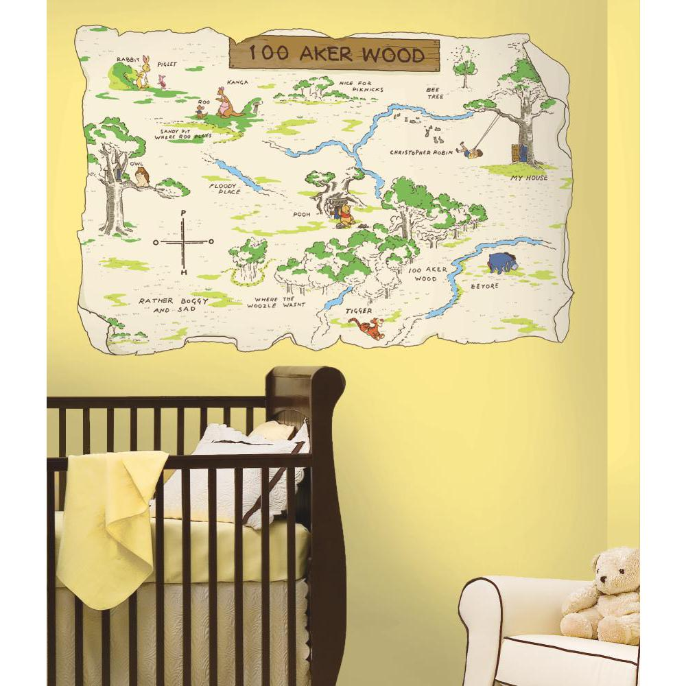 Winnie the Pooh-100 Aker Wood Peel And Stick Map