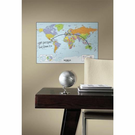 World Map Dry Erase Giant Decal