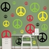 Yellow, Black, Green And Red Peace Signs Wall Decal