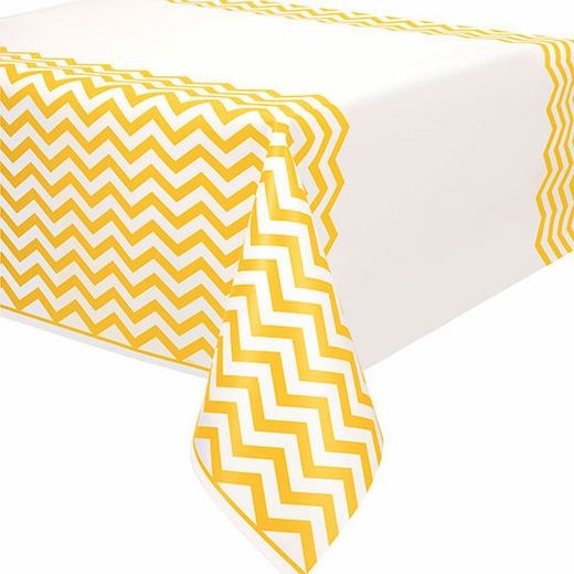 Yellow Chevron Plastic Table Cover - Rectangle