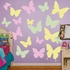 Yellow, Pink And Green Butterflies Wall Decal