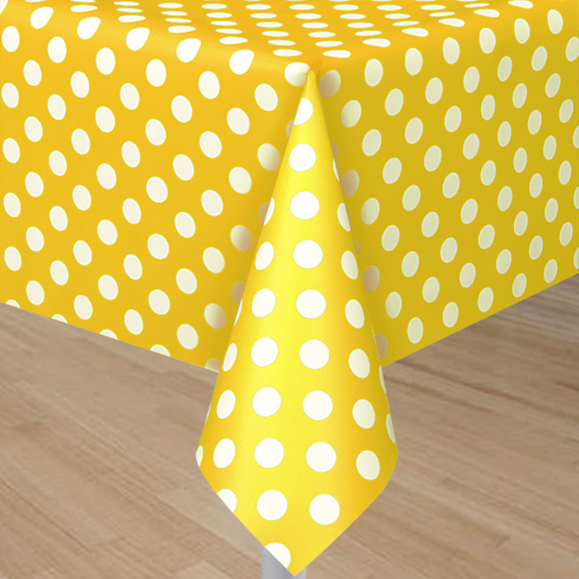 Yellow Plastic Table Cover With White Polka Dots - Rectangle