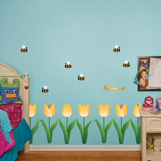 Yellow Tulip Chair Rail Collection Wall Decal