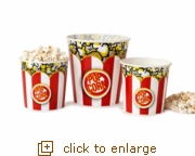 3-Pack Red & White Popcorn Tubs (2 Small, 1 Large)